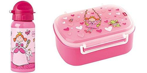 Sigikid Brotdose 24472 und Trinkflasche Pinky Queeny 24482 Geschenkset für Kindergartenkinder oder ABC Schützen