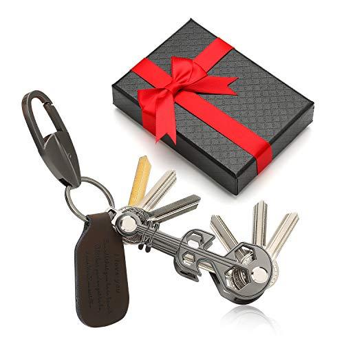 Compacte sleutelorganizer opvouwbare sleutelhouder met opschriftleer tot 10 toetsen Lichtgewicht, ingebouwde gadget - flesopener, telefoonstandaard, karabijnhaak - beste cadeau voor mannen vrouwen