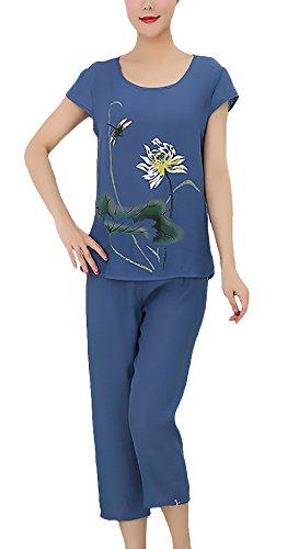 Schlafanzug Set Frauen 50Er Jahre Mode Kurzarm Rundhals Bedruckte Pyjama Einfacher Stil Anzüge Frühling Sommer Damen Oberteile + Hose Zweiteiler (Color : Blau, One Size : XL)