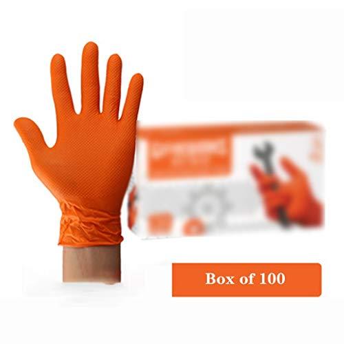 GUANTES Desechables nitrilo Naranja espesados duraderos petróleo Resistentes al ácido Experimento Seguros Trabajo Industrial químicos (Color : Orange, Size : M)