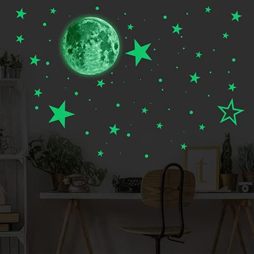 Warring States 435 PCS Resplandor en la Oscuridad Etiquetas de Pared autoadhesiva Etiquetas Luminosas Creativas Pegatinas de la Pared de la Luna Fluorescente Etiqueta engomada Luminosa