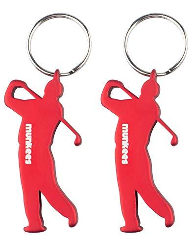 munkees 2 x Schlüsselanhänger Golfer-Figur Flaschenöffner Sport-Fans, Doppelpack Rot, 352549