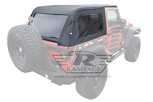 Rampage Products 109935 Frameless Trail Top for 2007-2018 Jeep Wrangler JK 2-Door, Black Diamond Sailcloth w/Tinted Windows