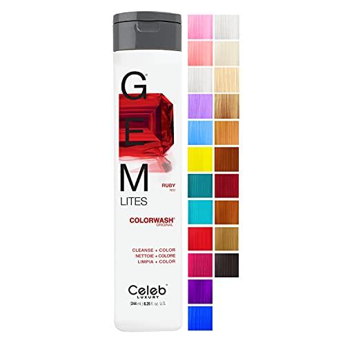 Celeb Luxury Gem Lites Colorwash, Professional Semi-Permanent Hair Color Depositing Shampoo, Ruby