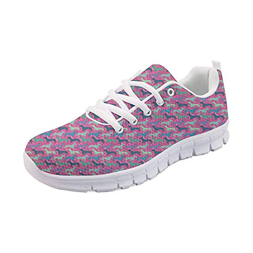 SEANATIVE Damen Casual Walking Schuhe Laufschuhe Mode Joggingschuhe, - Bunter Dackel. - Größe: 39 EU