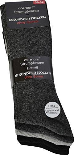normani 10 Paar Diabetiker Herren Socken ohne Gummi farbig Baumwolle Farbe Baumwolle/Dunkel Größe 39/42