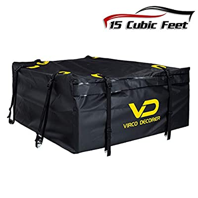 Virco Decorer Rooftop Cargo Carrier – PVC Car Top Carrier for Travel Storage, Heavy Duty Waterproof Cargo Bag, 8 Reinforce Straps Roof Rack Cargo Carrier, 15 Cubic Feet Car Roof Cargo Carrier