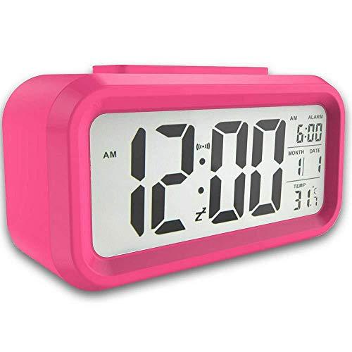 Sluimerfunctie Batterij-Aangedreven Nachtlampje Aanraakbediening Led Digitale Opname Slaapkamer Groot Scherm Niet-Tikkend Wekker Rozerood