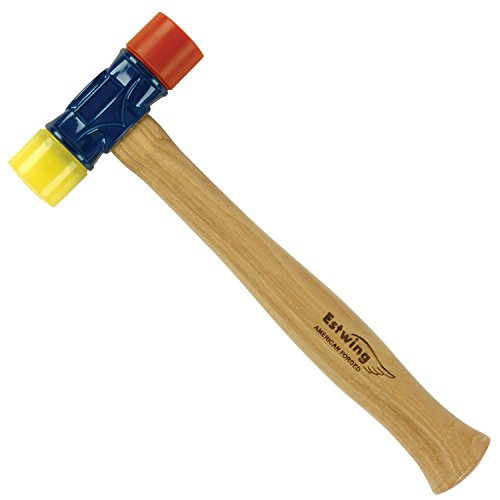 Estwing - DFH-12 Rubber Mallet - 12 oz Double-Face Hammer with Soft/Hard Tips & Hickory Wood Handle - DFH12,Black Red & Yellow