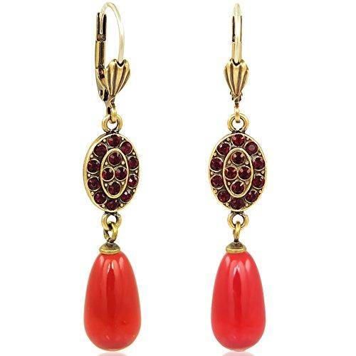 Jugendstil Ohrringe mit Kristallen von Swarovski® Gold Koralle NOBEL SCHMUCK