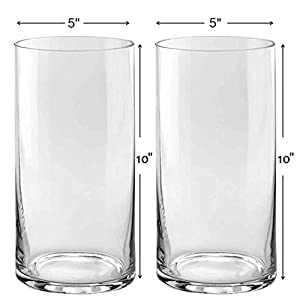 Silk Flower Arrangements Set of 2 Glass Cylinder Vases 10 Inch Tall X 5 Inch Round - Multi-use: Pillar Candle, Floating Candles Holders or Flower Vase – Perfect as a Wedding Centerpieces.