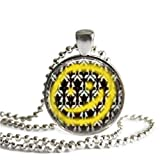 Sherlock Holmes Necklace Bored! Yellow Smiley Face 1 Inch Silver Plated Pendant