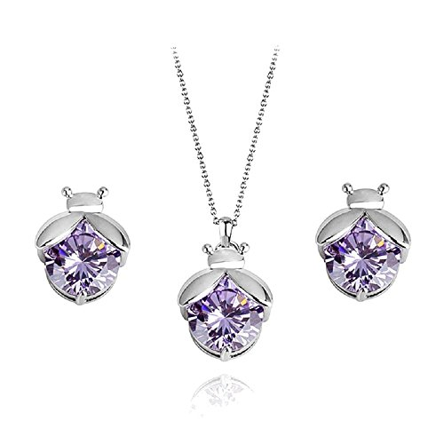 Mariquitas Violeta Cristales austríacos de Zirconia Juego de joyas Collar con colgante Pendientes 18k Chapado en oro blanco para mujer