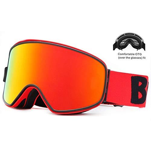 Ys-s Personalización de la Tienda Benice Bivalente Anti-Niebla Ski Goggles Visión Nocturna Gració Hombres y Mujeres Imán Combo Skiing Protección de los Ojos (Color : 6, Size : 220 * 100mm)