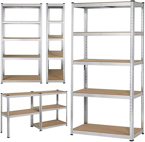 Andric Heavy Duty 5 Tier Metal Garage Shelving Unit Boltless Storage Shelves Shed Kitchen Racking,180 x 90 x 40 cm