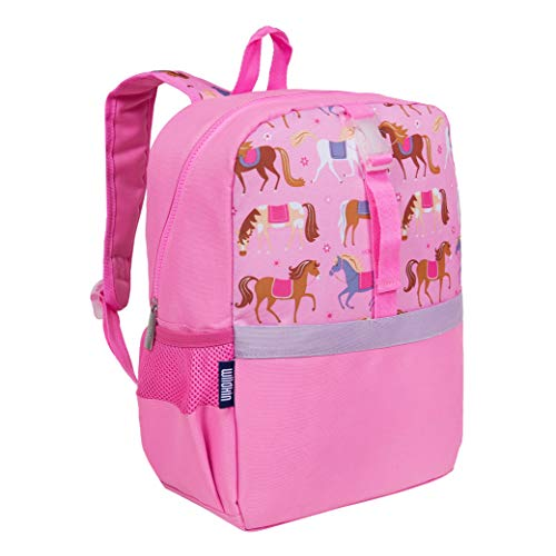 Wildkin Pack-it-All Kids Backpack for Boys & Girls, Ideal Size for School & Travel Backpack for Kids, Features Front Strap, Interior Sleeve, Back Support & Side Pocket, BPA-Free (Horses)