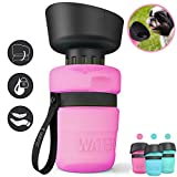 lesotc Pet Water Bottle for Dogs, Dog Water Bottle Foldable, Dog Travel Water Bottle, Dog Water Dispenser, Lightweight & Convenient for Travel BPA Free 18 OZ.(Pink)