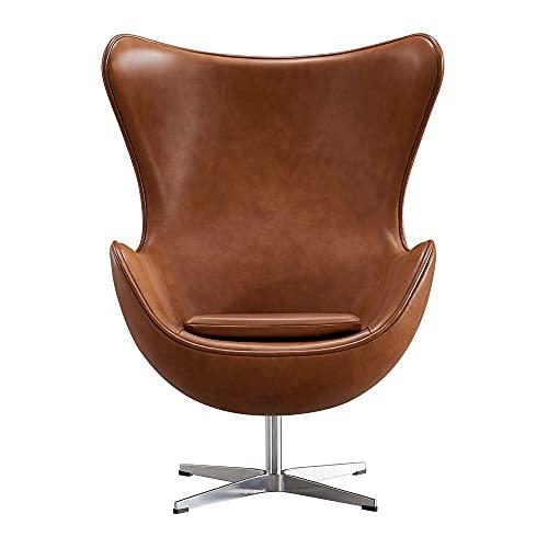 Vivol Egg Chair - Silla de piel auténtica, color marrón
