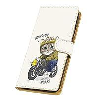 Galaxy S21 5G SC-51B・SCG09 対応 手帳型 カードタイプ すまほケース [バイク猫・ほわいと] きゃっと ライダー キャラクター SAMSUNG サムスン ギャラクシー エストゥエンティワン ファイブジー ドコモ au カード収納 スタンド式 スマホカバー けいたいケース FFANY roar 00z_219@03c