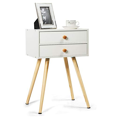 Subobo Bedside TablesMid Century Modern 2 Drawers Nightstand In White Sofa Side Table End TableSide Table