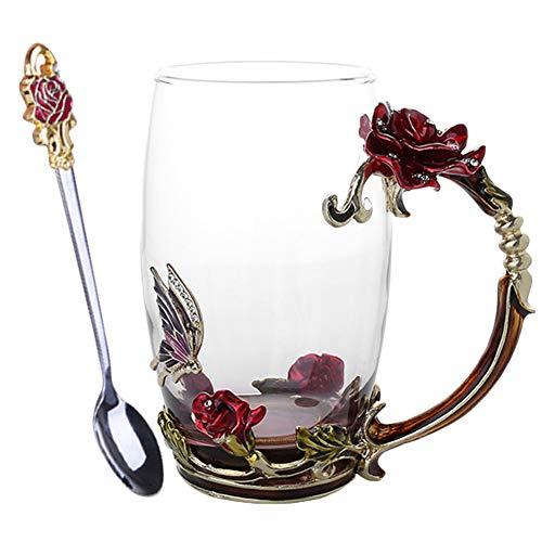 KIWINI Taza del té del café del esmalte 3D Rose Butterfly Glass Cups regalo de boda