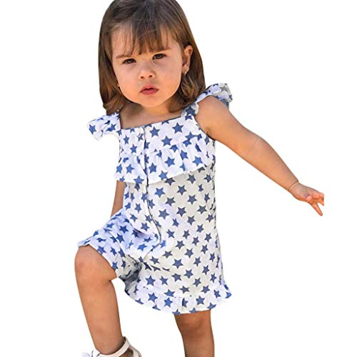 Julhold - Mono de algodón para bebé y niña, diseño de estrellas, estampado de estrellas, informal, de 1 a 5 años