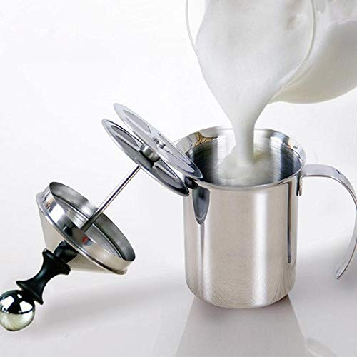 Milchaufschäumer Manuell Cappuccino Maker Groß - 400ML / 800ML Edelstahl Manuelle Doppel Mesh Kaffee Schäumer Creamer Foam (Größe : 800ML)