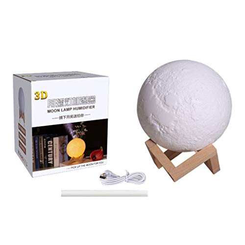 YO-HAPPY 880ML Luftbefeuchter 3D Moon Lamp Licht Diffusor Aroma Ätherisches Öl USB Purifier