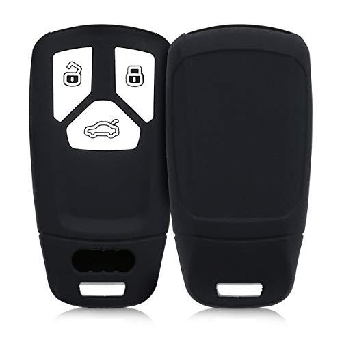kwmobile Funda de Silicona Compatible con Audi Llave de Coche Smartkey de 3 Botones (Solo Keyless Go) - Carcasa Suave de Silicona - Case Mando de Auto Negro Mate