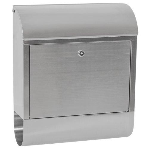 tectake 400499 Edelstahl Briefkasten mit Zeitungsfach, breite Einwurföffnung und Wetterschutzklappe