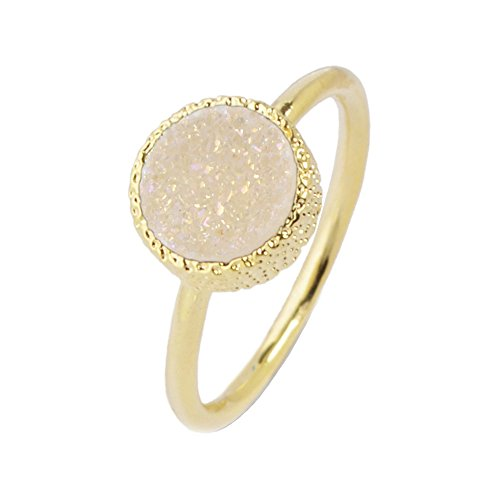 ZENGORI 1 Piece 10mm Gold Plated Round Natural Agate Titanium Drusy Ring Bezel Setting