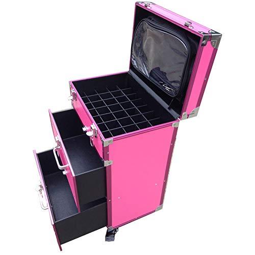 Maletín de maquillaje universal con ruedas de aluminio, con doble cajón, caja...