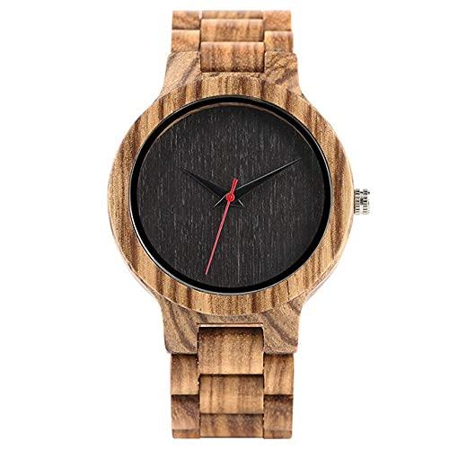 HYLX Reloj de Madera Reloj Relojes de Madera para Hombre Esfera Oscura Creativa Artesanía Natural Reloj Deportivo de Madera Completo Cuarzo analógico Masculino Regalos de San Valentín