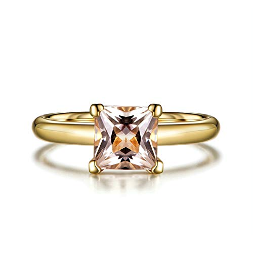 Ubestlove Gold Rings For Women 18Ct 55Th Wedding Anniversary Gifts Four Claws Inlaid 1.23Ct Morganite Ring R 1/2