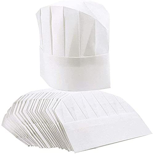 24 Pack Paper Chef Hats for Kids and Adults Disposable Chef Toques Culinary Cooking Safety, (20-22 in) White