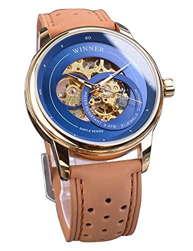 Winner - Reloj analógico para hombre, diseño de esqueleto dorado, resistente al agua, 30 m, con movimiento automático, color azul