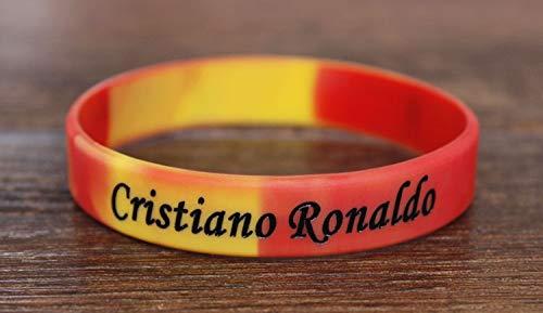 Xi-Link Jugadores De Fútbol Pulsera De Silicona Artículos De Regalo Movimiento Pulsera Brazalete Pulsera De La Bola Cristiano Ronaldo (Color : Yellow Red)