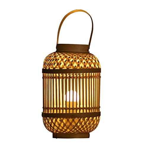 Lámpara de mesa Lámpara de mesa Linterna rústica de bambú Linterna Linterna de linterna con mango decorativo gran decoración para sala de estar dormitorio dormitorio escritorio Mesita de Noche Lámpara