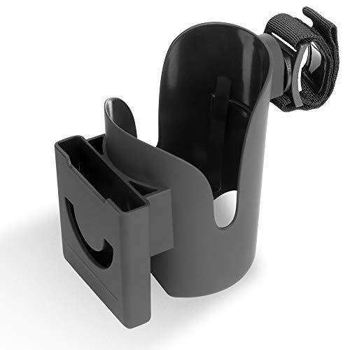 Soporte de taza de cochecito diseño dos en uno, botella y teléfono móvil se pueden colocar, fácil de instalar, se puede fijar en el..
