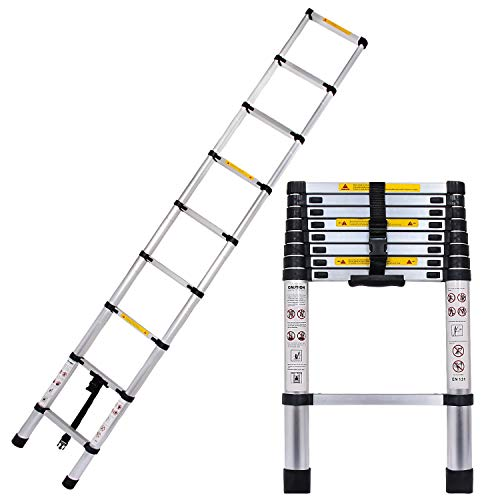Wodesid Folding Telescoping Ladder 8.5 FT Aluminum Extension Ladder Multi-Purpose Telescopic Ladder Home or Emergency Use Portable Collapsible Ladders 330lbs Max Capacity