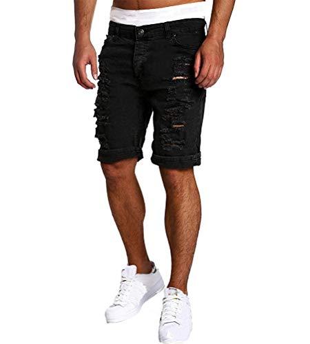Minetom Elasticizzati da Uomo Strappati Jeans Spiaggia Pantaloni Corti Bermuda Pantaloncini Sguardo Distrutto Patchato Stile Nero EU M