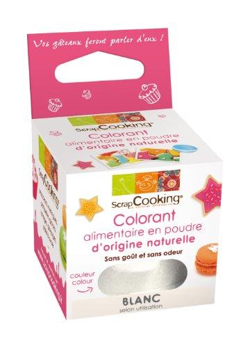 Scrapcooking Colorant Alimentaire dOrigine Naturelle Blanc 10 g - Lot de 3