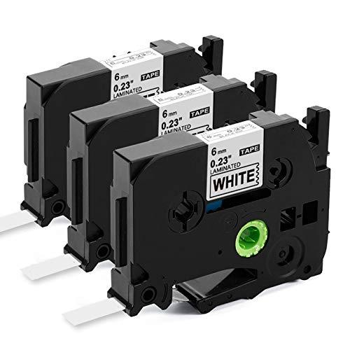 Upwinning kompatibel Schriftbänder als Ersatz für Brother Ptouch 6mm TZe-211 Bänder, Laminiert schwarz auf weiß TZ Tape 6mm Cassette AZe-211 TZe211 Schriftband for h100r h105 900 1000 1010 1280, 3x