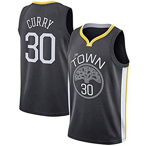 Männer Basketball Uniformen, Golden State Warriors # 30 Stephen Curry NBA Basketball-Fans Trikots Sleeveless Sport Tops T-Shirt Casual Wege,Schwarz,L(175~180CM)