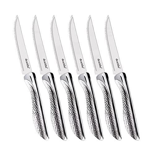 dearithe Steak Knives Set of 6, Serrated Stainless Steel Sharp Blade Flatware Steak Knife Set,Unique Hammered Pattern Hollowed Handle,4.5 In,For Kitchen Restaurant Tableware Camping,Dishwasher Safe