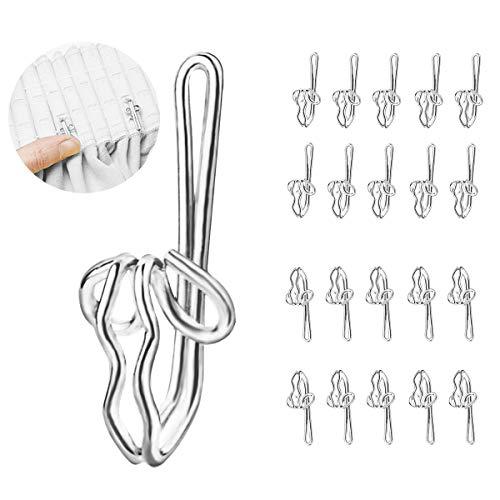 CCUCKY 100 Stücke Gardinenhaken aus Metall,Vorhanghaken für Duschvorhang und Raumvorhang-Silver