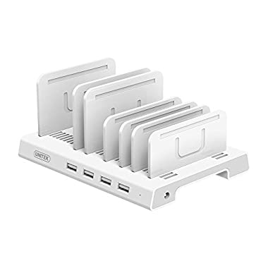 UNITEK 4 Ports Charging Station, 36W/7.2A Desktop USB Fast Charger Station Tablet Organizer & Multi-Device Docking Stand, Upgraded Adjustable Dividers, Smart IC Compatible iPad, iPhone, Tablet & More