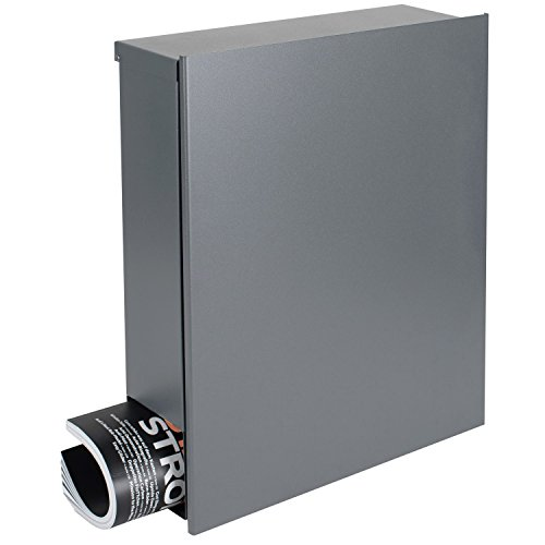 Design-Briefkasten mit Zeitungsfach 12 Liter grau-aluminium (RAL 9007) MOCAVI Box 111 Wandbriefkasten Postkasten Zeitungsrolle