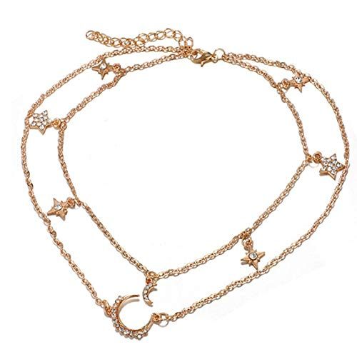 HshDUti Stars Moon Charms Women Necklace Fashion Chain Pendant Multilayer Clavical- Golden