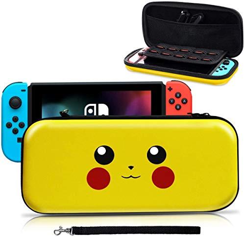 Haobuy Etui pour Switch, Pochette Protection Désigné pour Switch Pokémon Lets' go Pikachu/Eevee Pouch, Sacoche Housse Protable Transport pour Pokémon Switch Accessoire- Pikachu